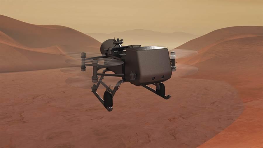 有8具電動風扇的蜻蜓號,將在土衛六表面飛行,並調查其環境。(圖/NASA)