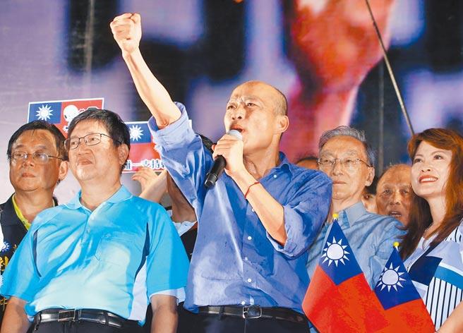 高雄市長韓國瑜6月30日晚間參加新竹場造勢活動。(本報系記者陳麒全攝)
