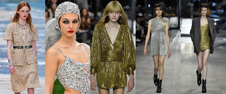 Chanel 2019春夏系列(左1、2)、Celine 2019春夏系列(右1、2、3)(圖/達志影像)