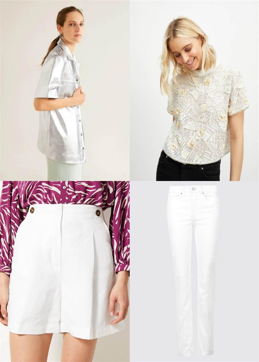 第一套:銀色亮面皮革襯衫搭配白色短褲(左上、左下)、第二套:串珠點綴上衣搭配白色長褲(右上、右下)。(圖/翻攝自MANGO、M&S、Miss Selfridge官網)