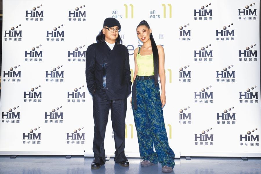 流氓阿德(左)與同是華研國際音樂集團的Karencici昨一同出席慶功宴。