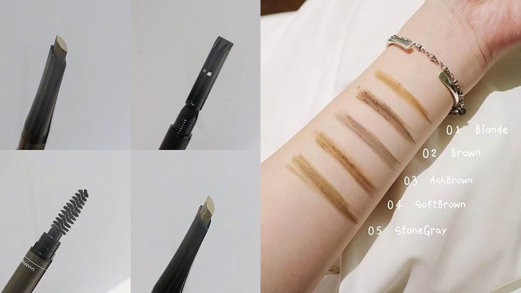 我型我塑持色眉筆EX版共推出5色,筆頭是特殊設計的六角型,可以畫出擬真的逼真毛流。(圖/IG@_arielchuang)