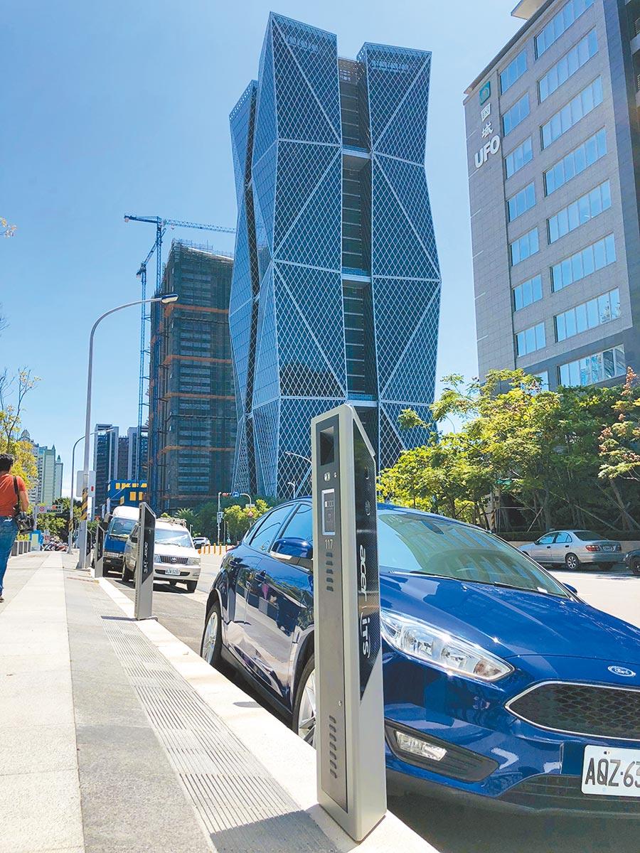 「智慧停車2.0系統」利用科技停車柱控管,釋出校園周邊限時性停車格,供家長利用。(葉德正翻攝)