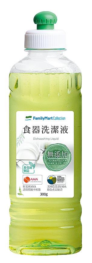 全家首度推出食器洗滌液,生質含量達98%,使用後汙水可自然分解,可洗碗與蔬果,49元。(全家提供)