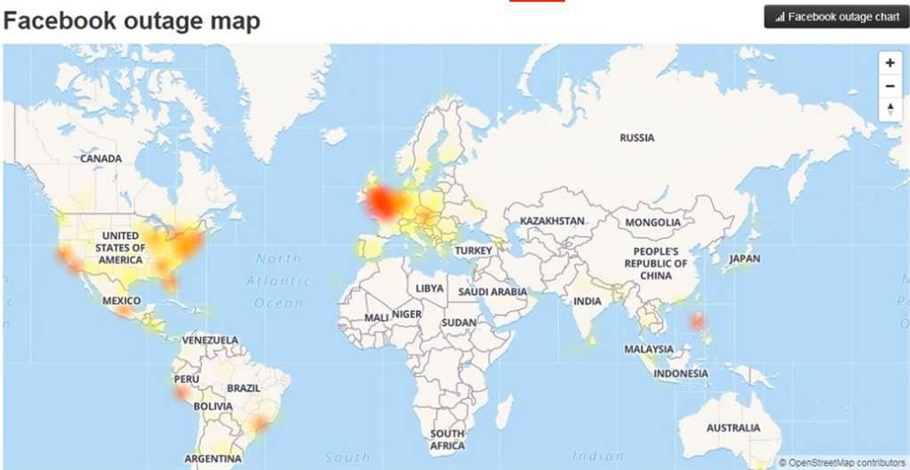 從 Downdetector網站的狀況回報地圖可見「受災區」。(圖/翻攝自Downdetector網站)