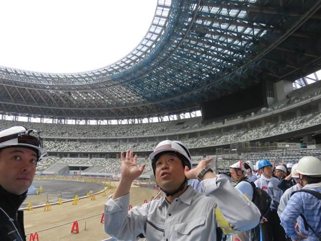 日本2020東京奧運場館「新國立競技場」已完工9成。(黃菁菁攝)
