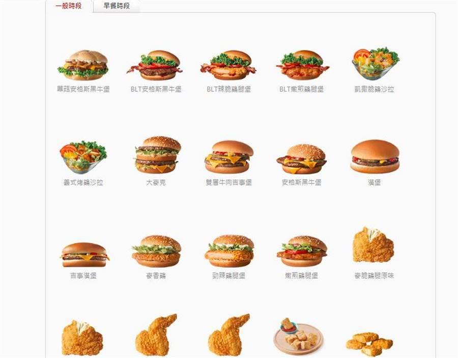 查詢官網,真的有名為漢堡的餐點。(翻攝麥當勞官網)