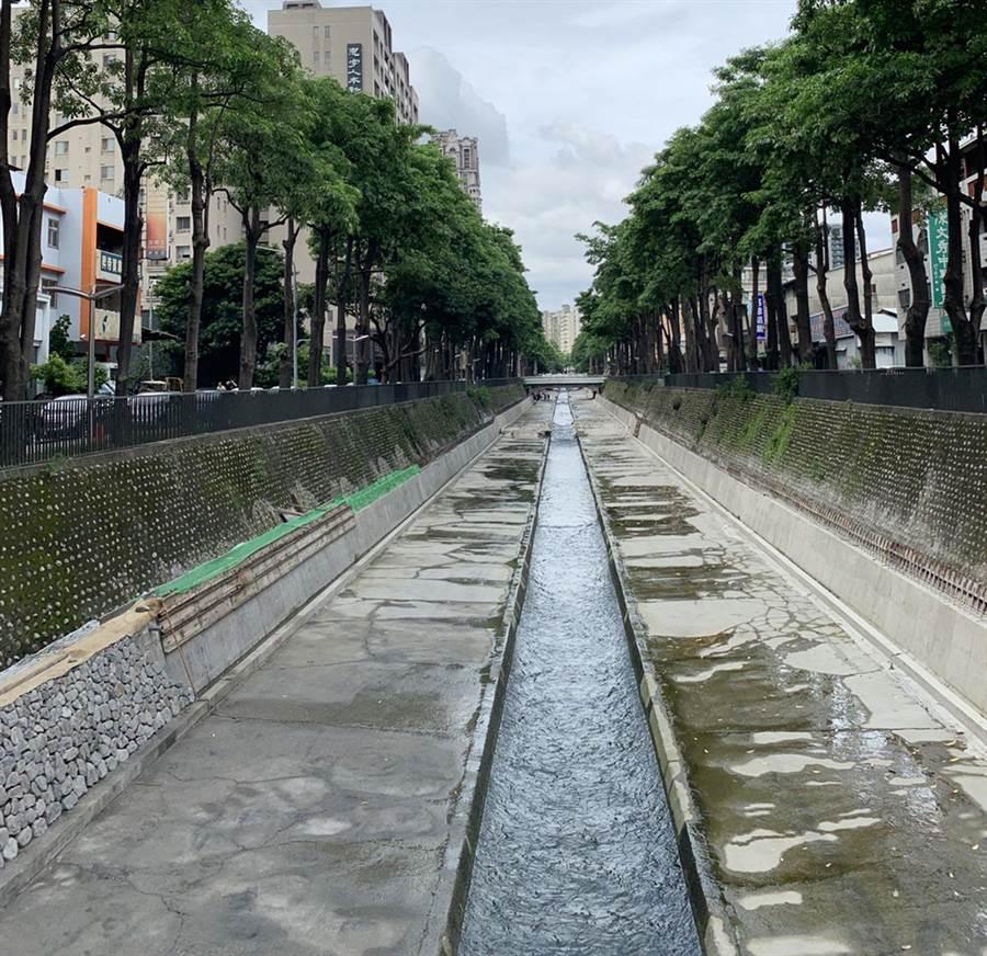 潮洋溪及惠來溪護岸屬混凝土三面光,水質介於中度至嚴重汙染間,不利生物棲息。(陳世宗翻攝)