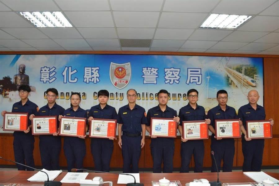 彰化縣警察局3日表揚員警好人好事優良事蹟5件10人。(吳敏菁翻攝)
