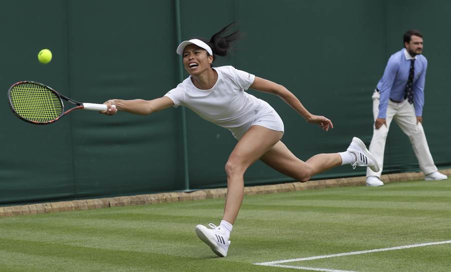 謝淑薇在2019年溫網女雙拚進八強。(美聯社)