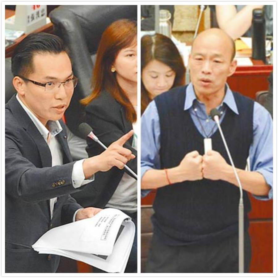 民進黨議員林智鴻(左)曾準備27道「高雄學堂」題目,在高市議會一一詢問高雄市長韓國瑜(右)。(合成圖/中時資料照)