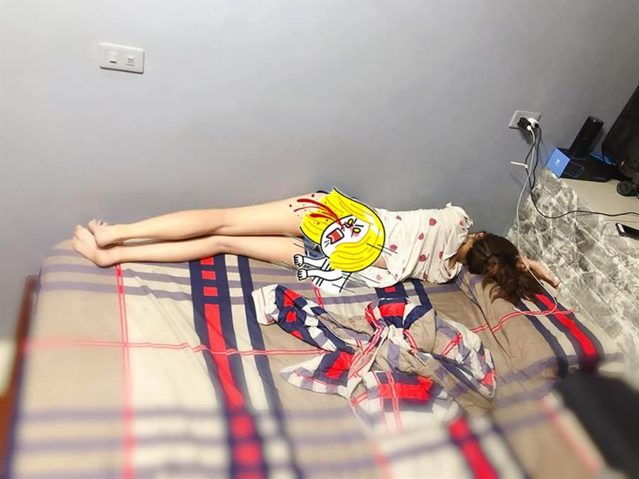 晒女友睡姿!真理裤邪恶视角曝光(图/翻摄自脸书《爆怨公社》)