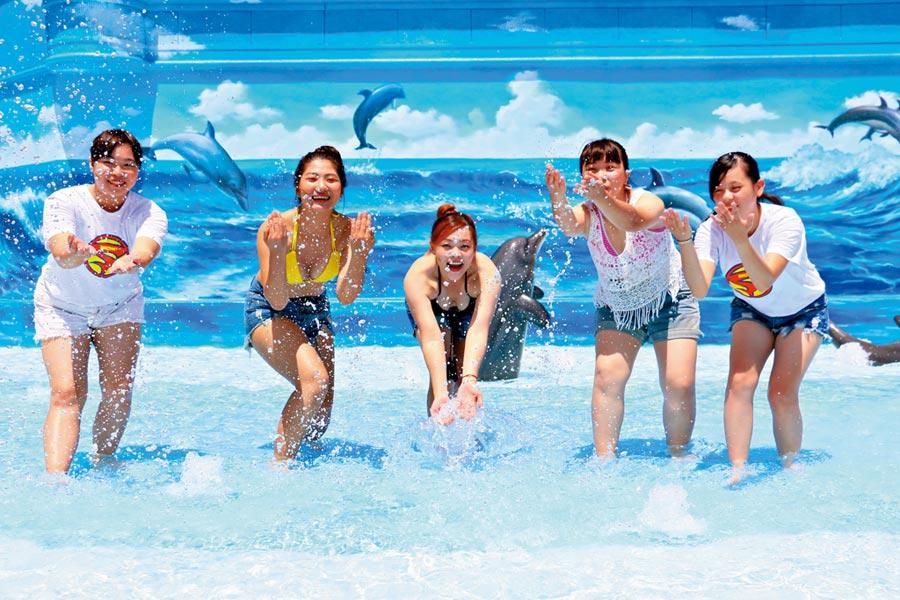 遠雄海洋公園暑假檔期開跑,推出身著比基尼半價入園優惠,搶攻年輕客層。圖/遠雄海洋公園提供
