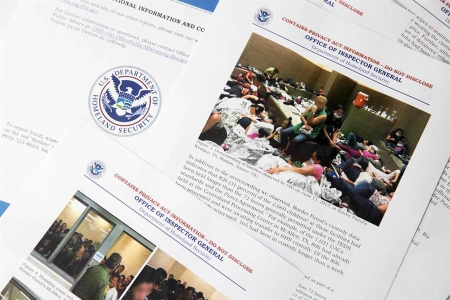 美國國土安全部2日公布的邊界移民拘留中心報告。(圖/美聯社)