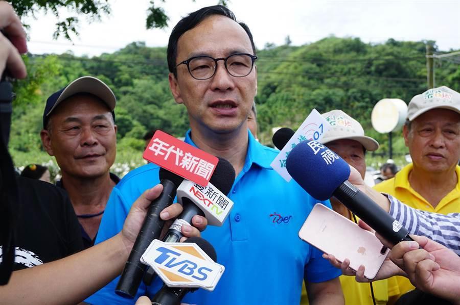前新北市長朱立倫評論「郭0到6歲國家養」及「韓南北經濟平衡」。(王文吉攝)