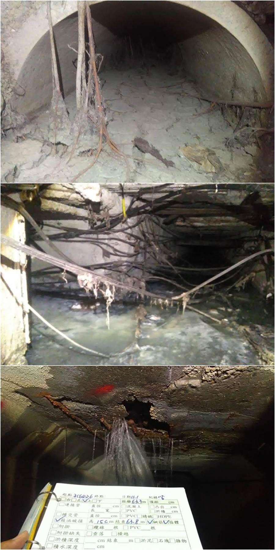 下水道普查時的照片,真實景象令人「怵目驚心」。(圖/翻攝自治水救台灣 李鴻源粉絲頁FB)