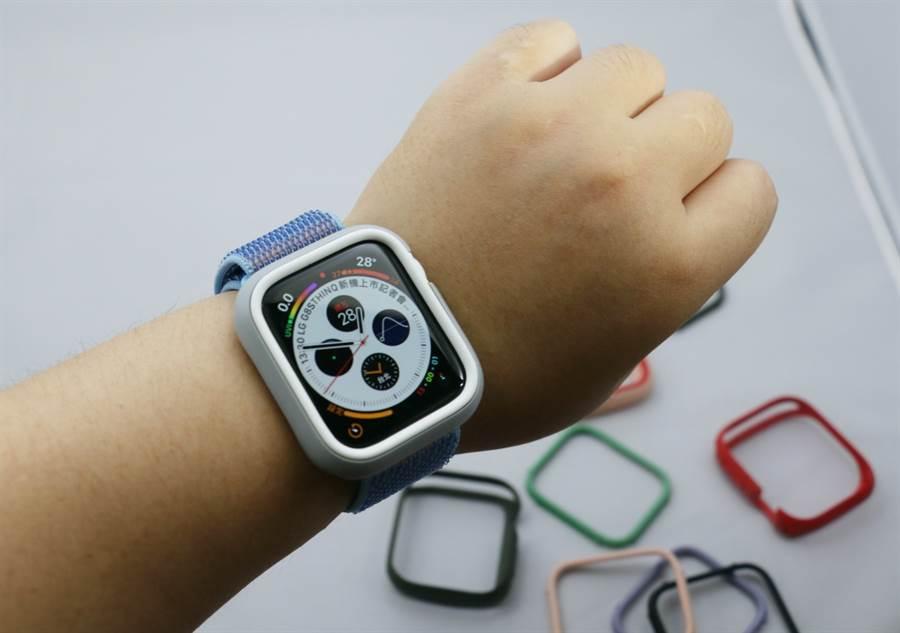 Apple Watch Series 4 搭配犀牛盾Apple Watch CrashGuard NX保護殼。(圖/黃慧雯攝)