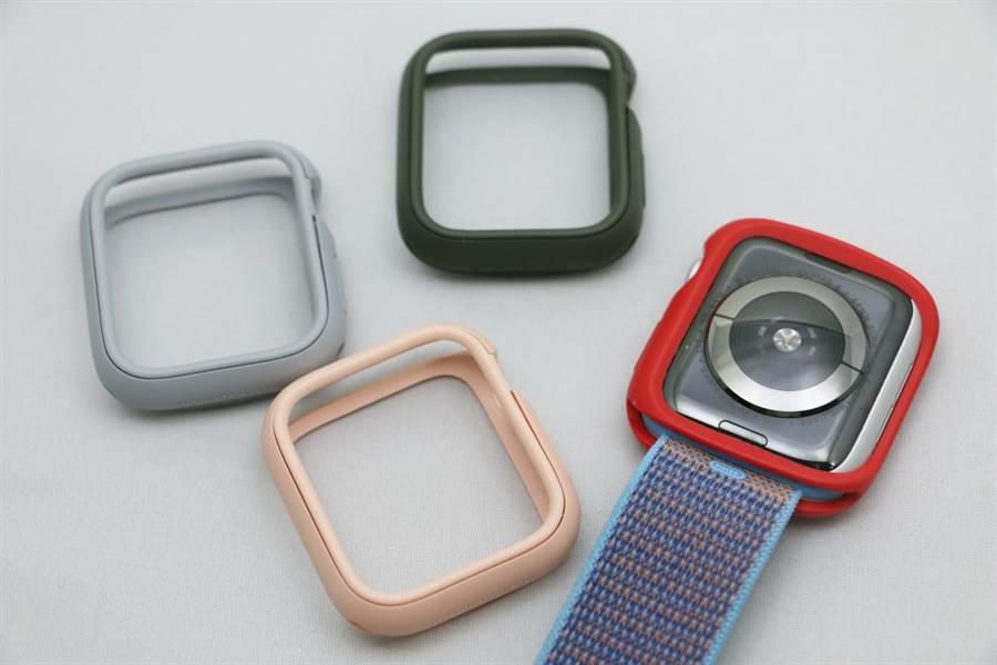 替 Apple Watch(Series 4)安裝犀牛盾Apple Watch CrashGuard NX保護殼後,需重新把錶帶裝上。(圖/黃慧雯攝)