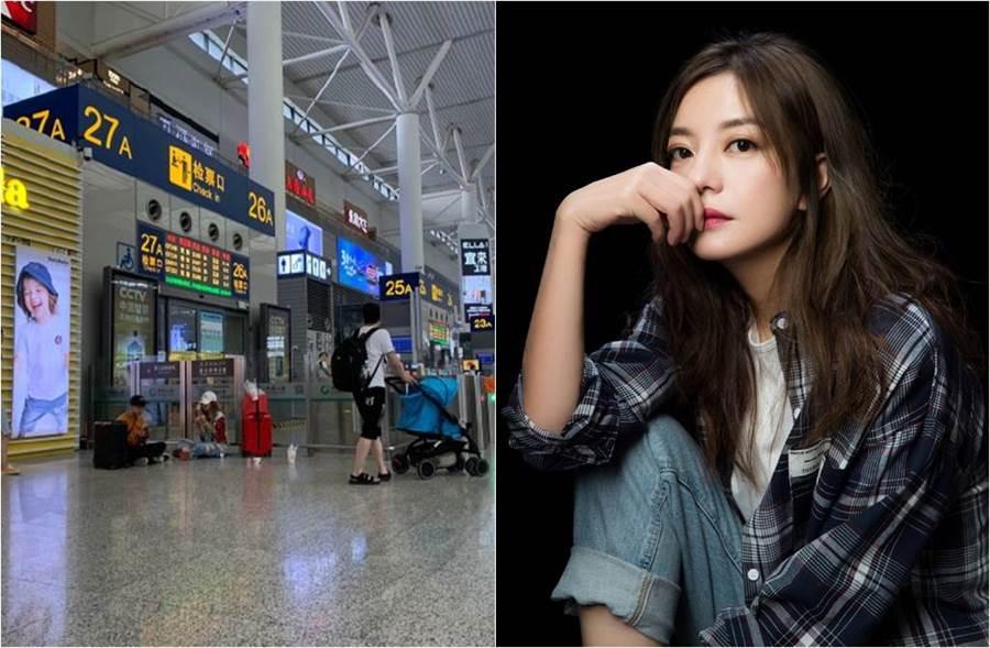 趙薇在機場大廳席地而坐,豪放大口吃漢堡(圖左)。(圖/取材自趙薇工作室微博)