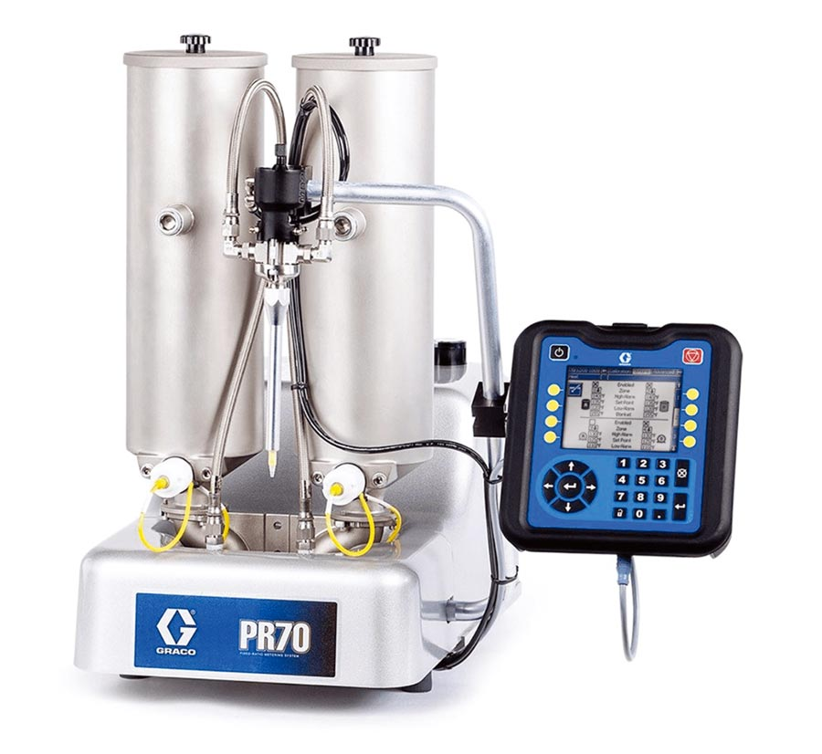 Graco PR70固定與可變比例系統能準確計量、混合和分配中低粘度的塗料,進行灌注、襯墊、密封、封裝與注射器填充。圖/模冠公司提供