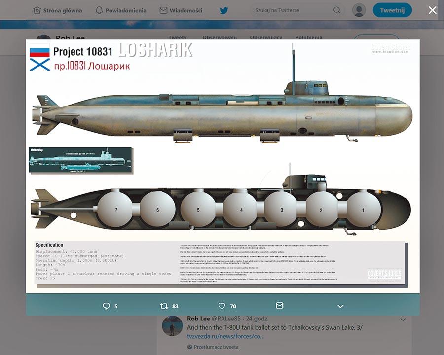 俄國科研迷你潛艇羅夏里克號的模擬圖,上為外觀,下為內部結構。(取自推特帳戶Rob Lee)