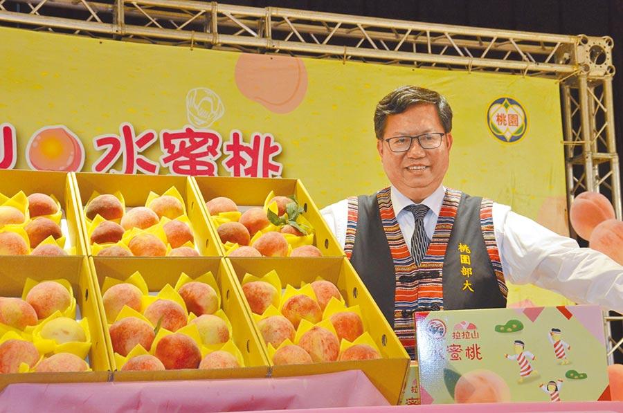 桃園市長鄭文燦歡迎民眾購買拉拉山水蜜桃,也利用機會到復興區旅遊。(賴佑維攝)
