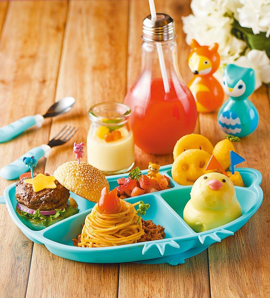 台北福華大飯店推出讓2大2小享用的親子套餐,針對小朋友有大寶寶或小寶寶餐可選,圖為大寶寶餐。(台北福華大飯店提供)
