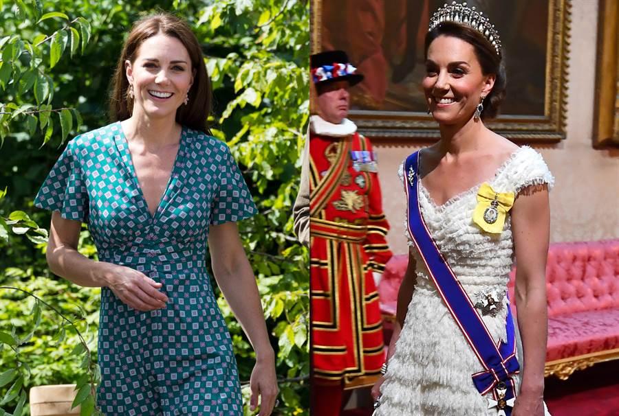 與一個月前的晚宴禮服比起來,凱特明顯爆瘦許多。(圖/達志影像)