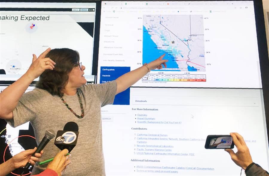 美國地質調查所(USGS)官員露西·瓊斯(Lucy Jones)指出,今天這起地震是南加州20年來發生的最強地震。(圖/美聯)