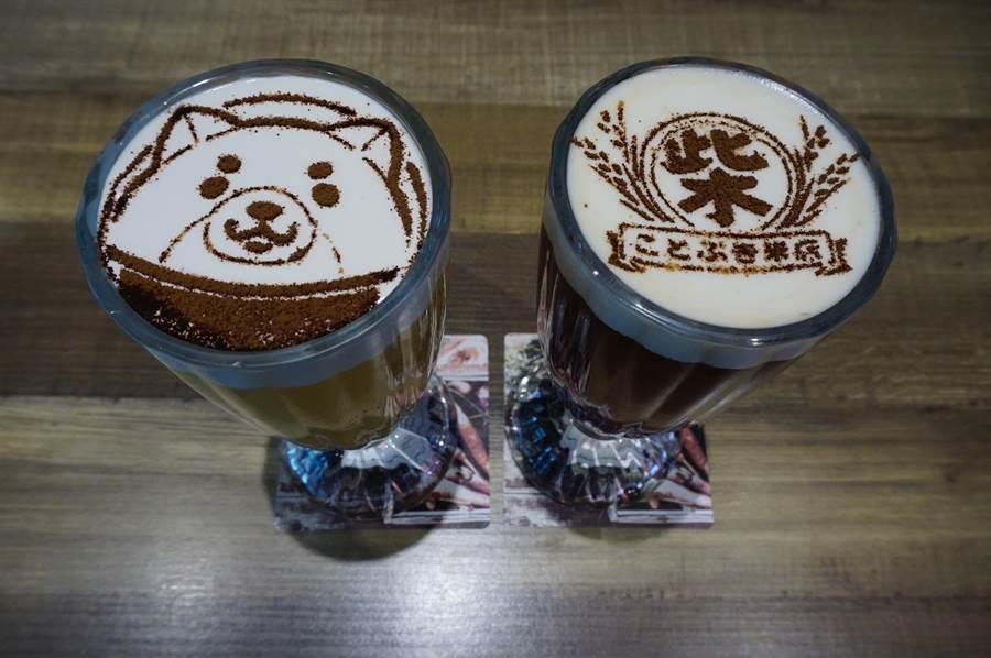 黛麗佐手餐廳推出柴犬主題餐點,飲品奶泡特別設計柴犬圖樣。(王文吉攝)