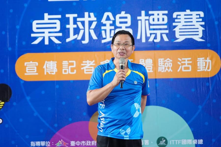 台中市身心障礙體育總會理事長、議員陳清龍表示,籌辦這場賽事傾全市之力,讓身障選手們能無後顧之憂專心比賽。(盧金足攝)