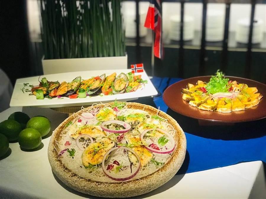 台中星享道酒店1樓星饗道國際自助餐,暑假期間推出「北歐鮭蜜季」,一口氣端出30道鮭魚佳餚。圖/曾麗芳