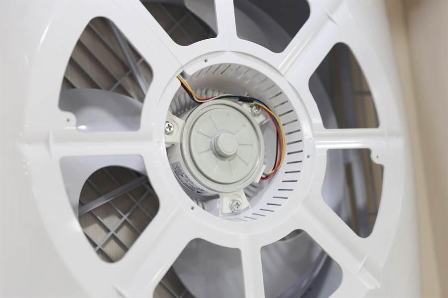 台灣威力循環扇使用的台達電DC高壓馬達,可以做到真正多段式、極緩慢的轉速,達到省電的目的。