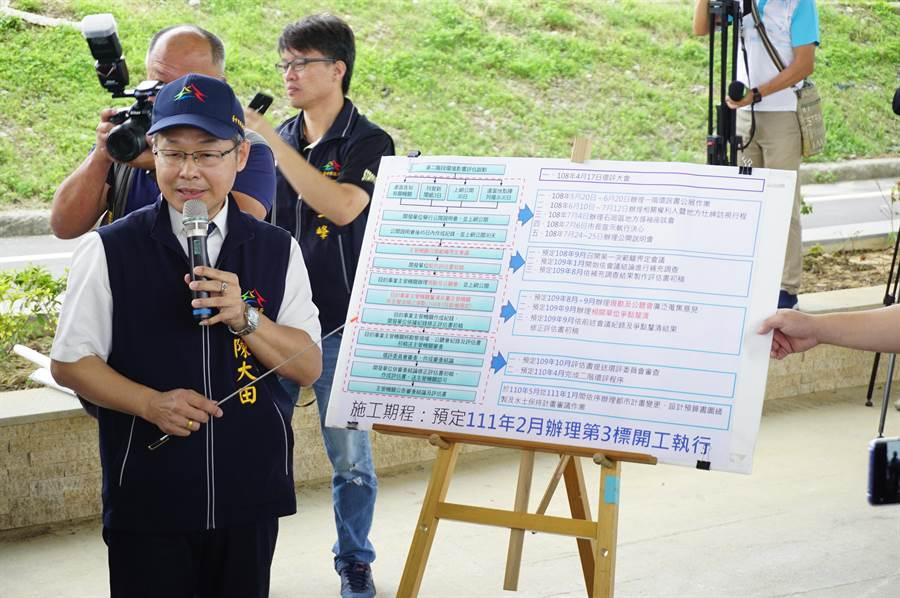 台中市建設局長陳大田簡報說明「東豐快」環評最近進度。(王文吉攝)
