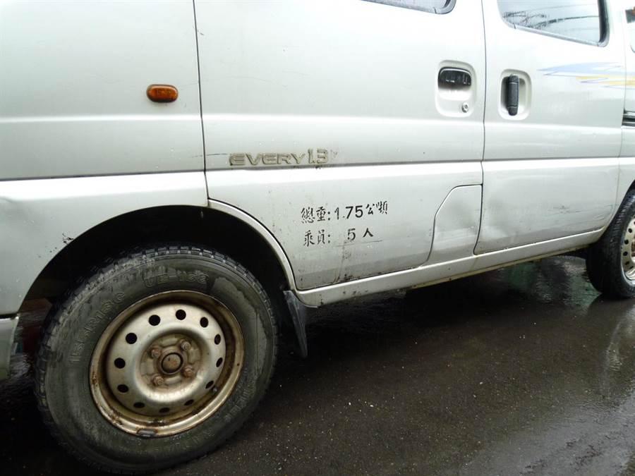 施姓車主的白色小客車被撞凹有擦痕。(張妍溱翻攝)