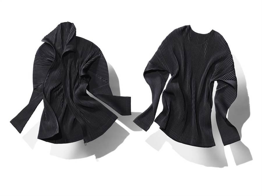 基本款圓領長袖T恤6800元,基本款拉鍊外套1萬1800元。(ISSEY MIYAKE提供)