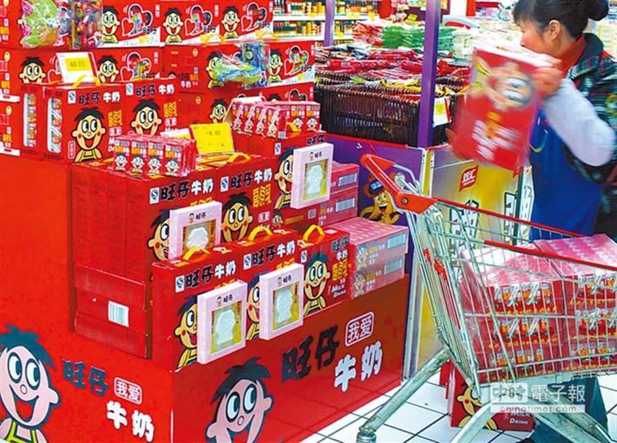 圖為湖北宜昌一超市販售的的旺仔牛奶。 (資料照片)