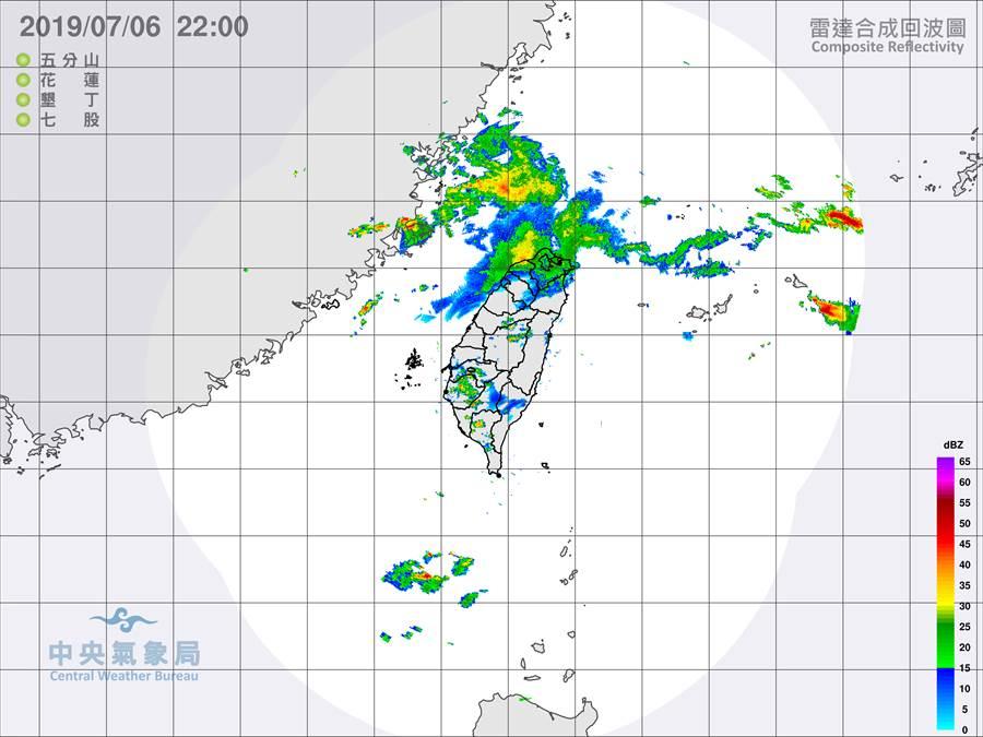 氣象局發布最新雷達合成回波圖。(圖擷自氣象局)