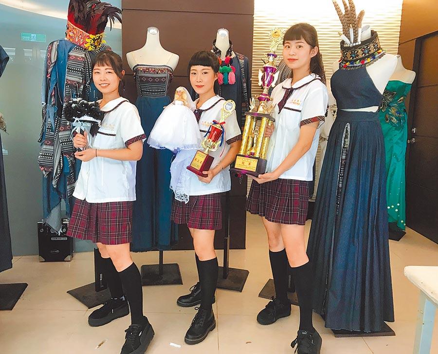 光复高中时尚造型科校园美女左起蒋欣庭、陈芯榆、许纯翊。
