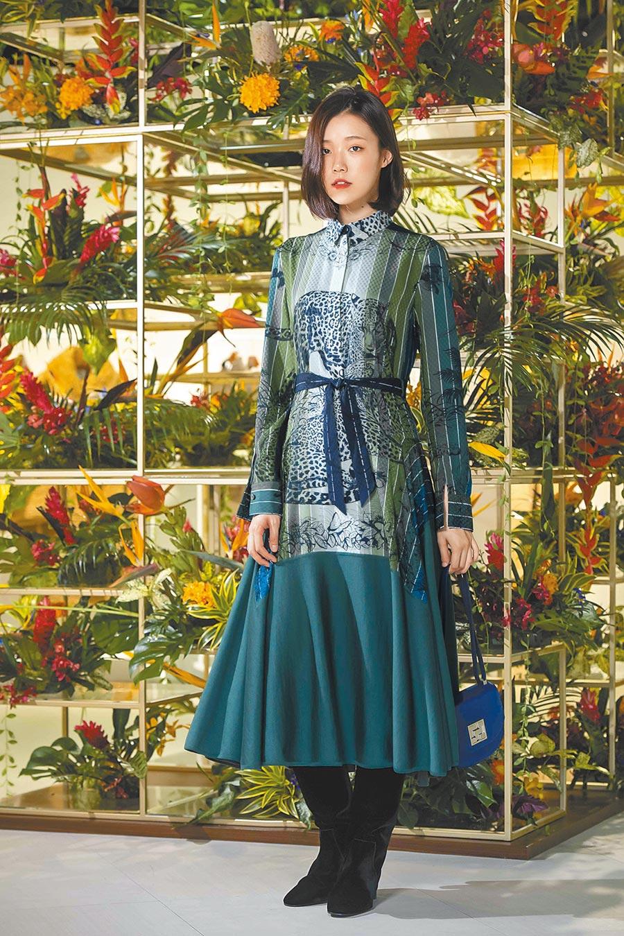 愛馬仕結合絲巾與針織兩種材質,洋裝使用5條90公分的印花絲巾細緻接合縫製。維羅納綠Jungle Love Rainbow圖紋印花襯衫式Twillaine連身洋裝26萬7500元。(HERMES提供)