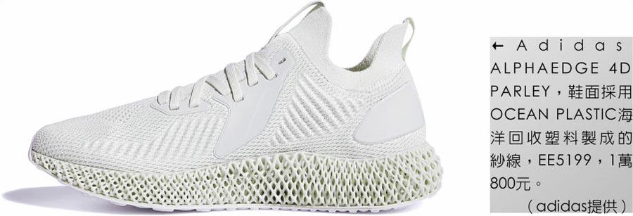 Adidas ALPHAEDGE 4D PARLEY,鞋面采用OCEAN PLASTIC海洋回收塑料制成的纱线,EE5199,1万800元。