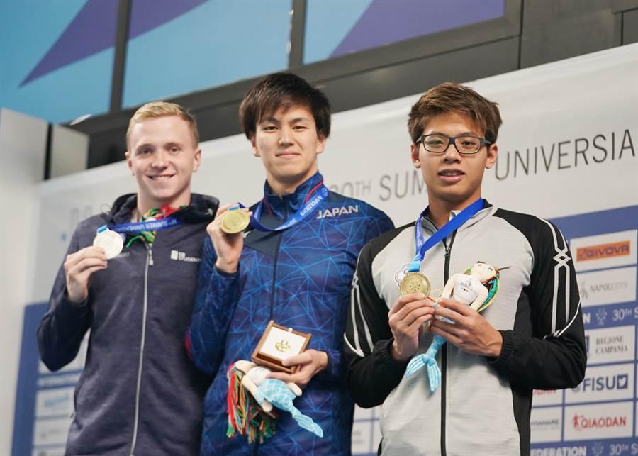 王星皓(右)與金、銀牌選手合照。(大專體總提供)