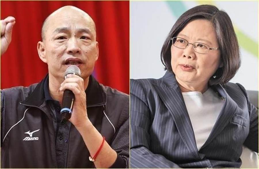 圖為高雄市長韓國瑜(左)、總統蔡英文(右)。(中時資料)