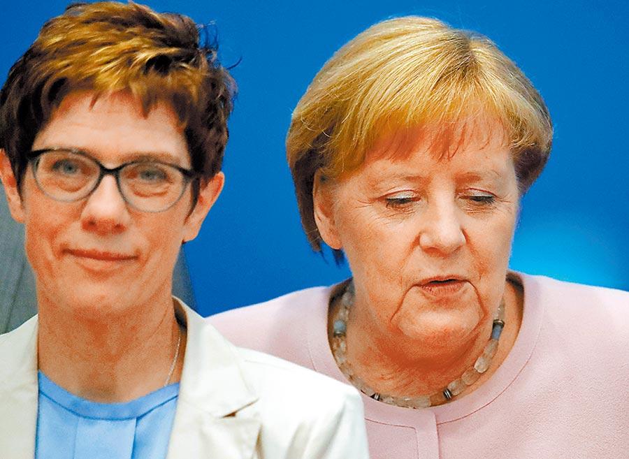 有小梅克爾(右)之稱的德國執政基民黨新任黨魁克朗普-卡倫鮑爾(左),有望問鼎德國總理寶座。圖/路透