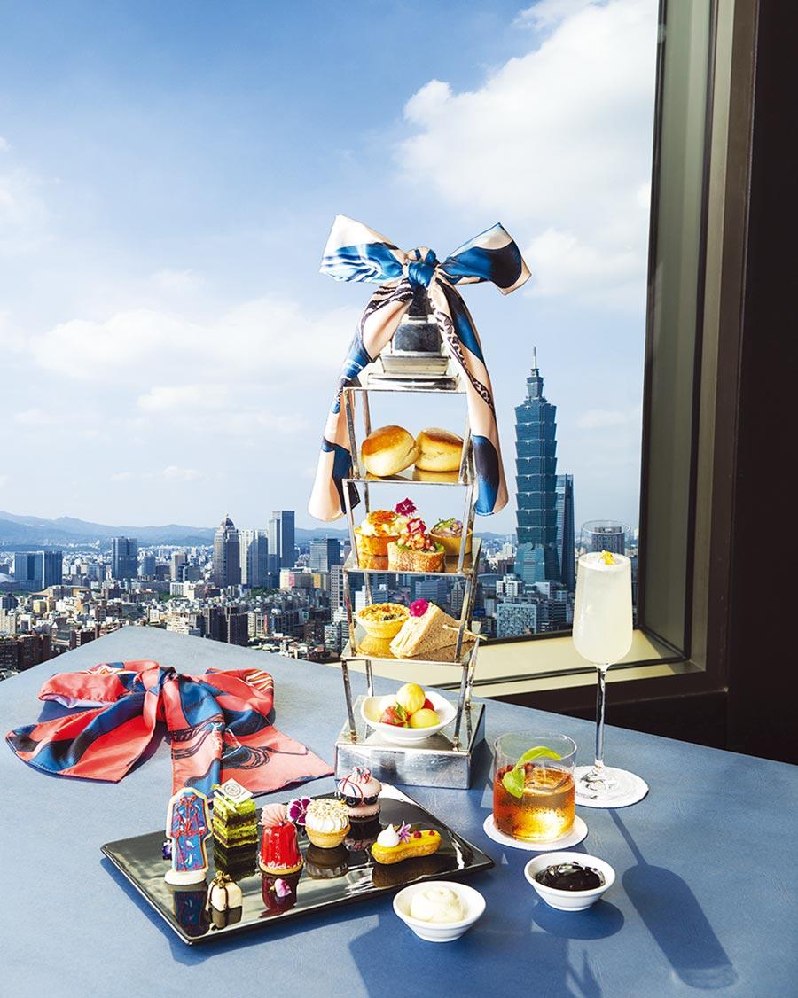 台北遠東38F馬可波羅酒廊結合華裔設計師Daniel Wong跨界推出聯名下午茶,翻轉饕客的時尚想像。圖/業者提供