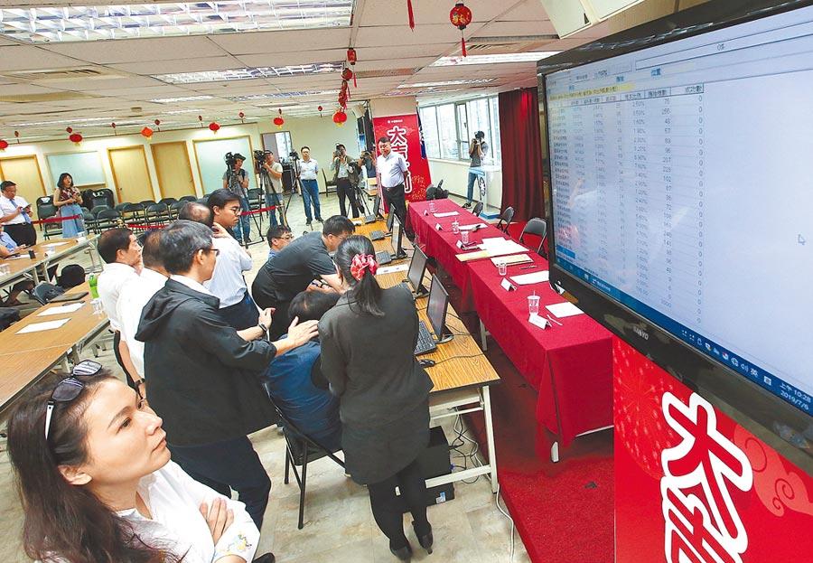 國民黨總統初選民調即將開始,黨中央6日進行民調樣本的抽樣作業,同時上網直播。(趙雙傑攝)