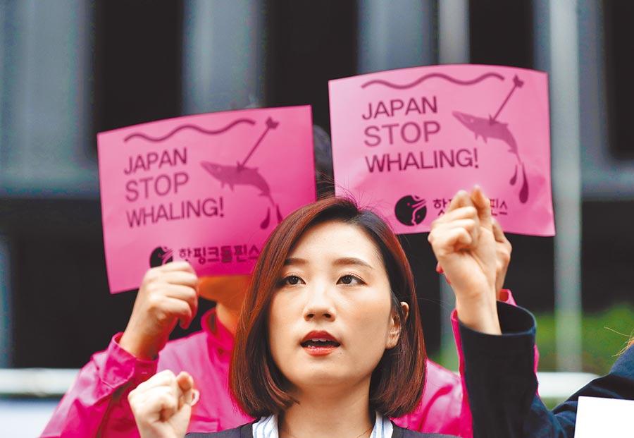 南韓民間人士上月19日前往日本駐首爾大使館附近示威,抗議日本恢復商業捕鯨。(美聯社)