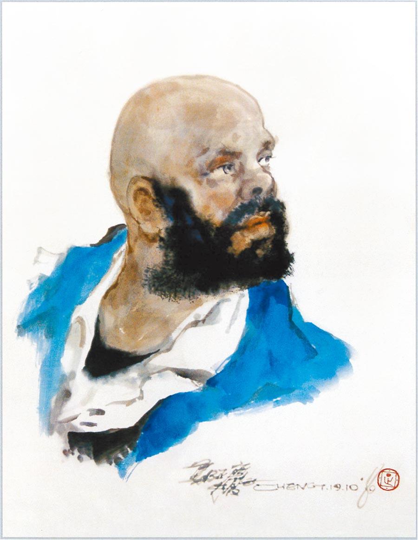 鄭正慶,《南非的好友》,32×40cm。 照片提供鄭正慶
