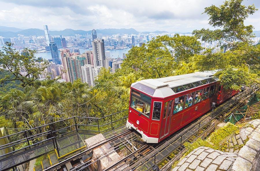 香港旅遊業擔憂修例風波嚴重影響安全旅遊城市形象,圖為山頂纜車。(中新社)