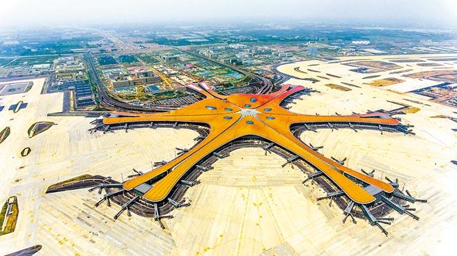 航拍大興國際機場。(潘之望攝)